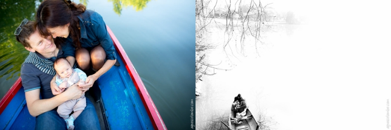 Seance photo bebe en barque Paris | Agnes Colombo, photographe bebe Paris