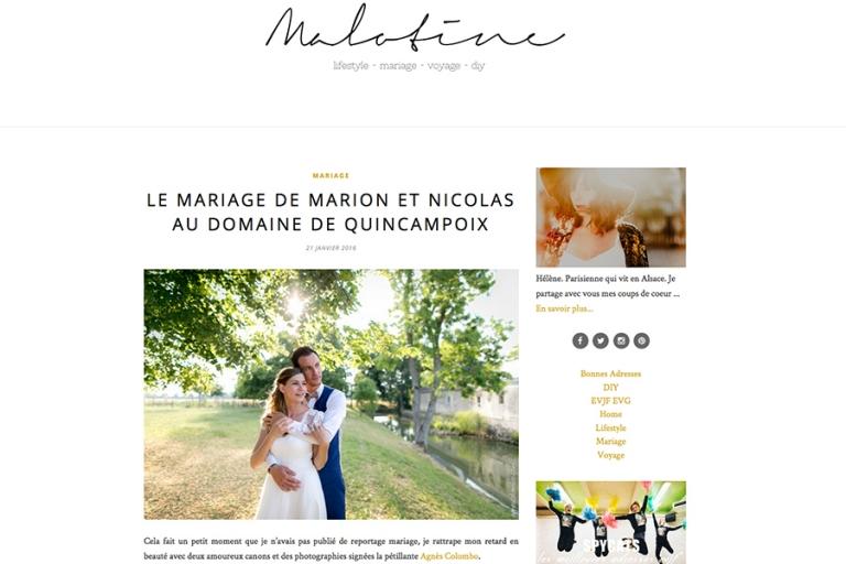 Mariage Domaine Quincampoix | Publication Malotine